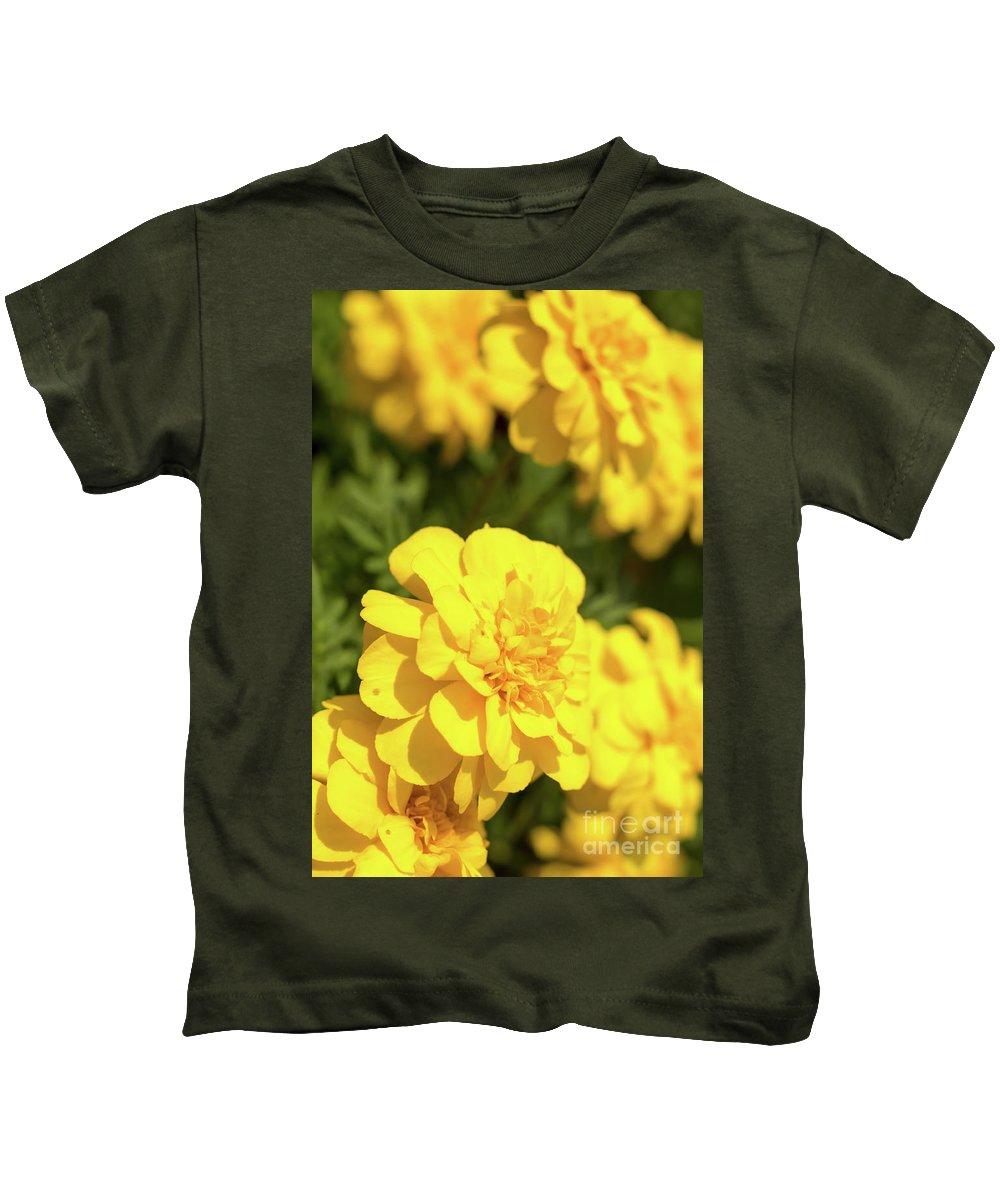 Asia Kids T-Shirt featuring the photograph Tagetes Patula Fully Bloomed French Marigold At Garden In Octob by Eiko Tsuchiya