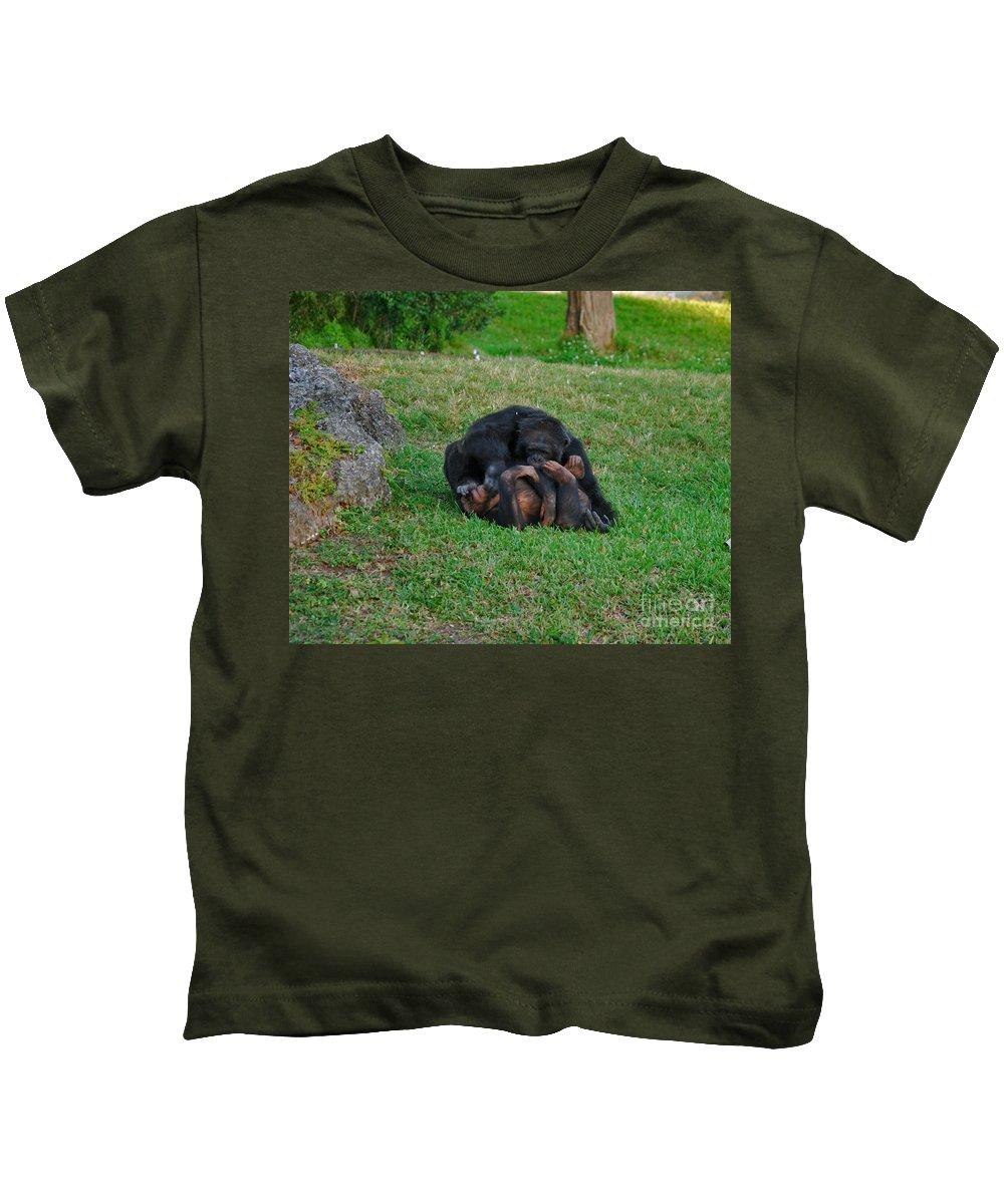 Chimpanzees Kids T-Shirt featuring the photograph 69- Monkey Business by Joseph Keane