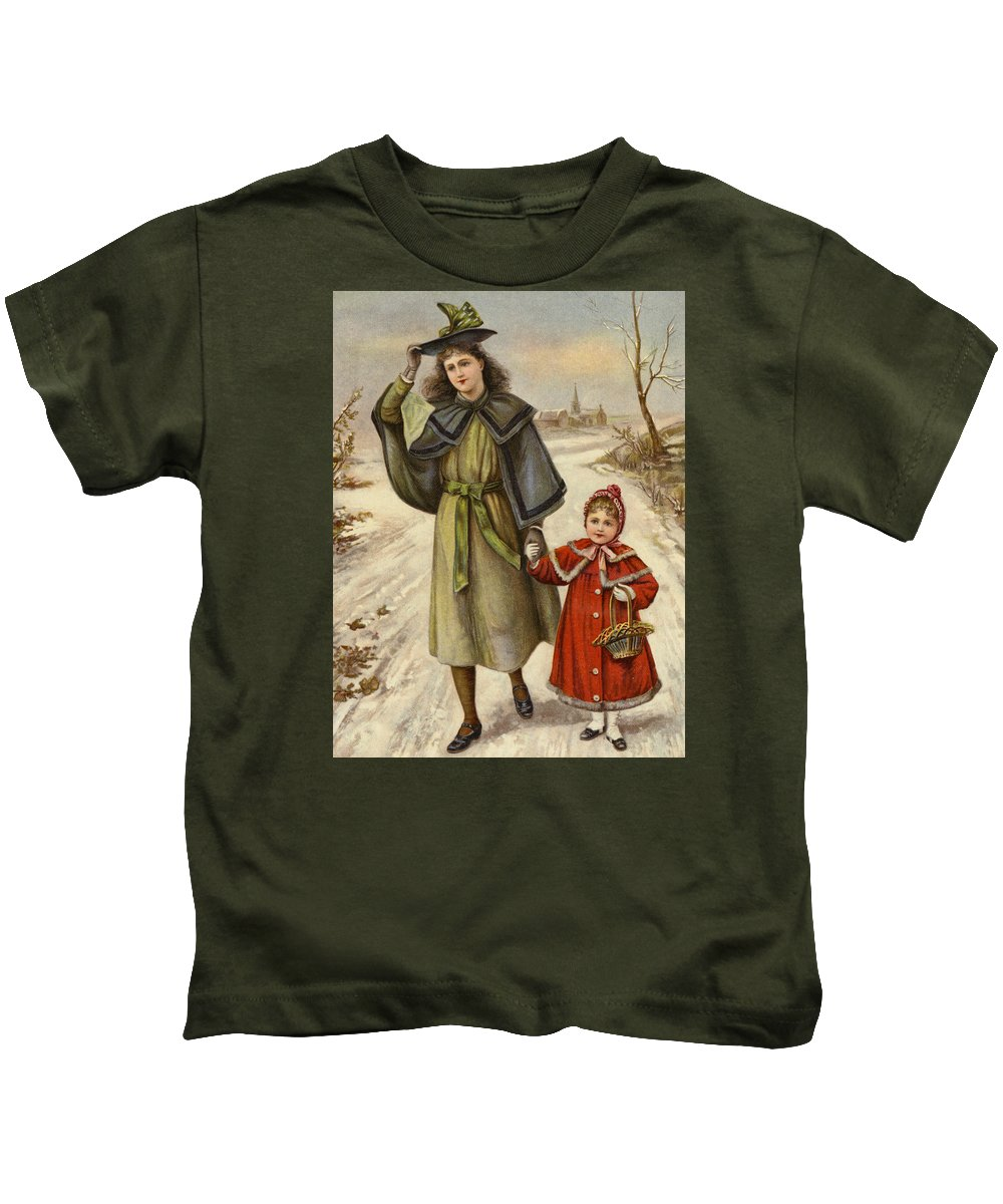 Girl Kids T-Shirt featuring the painting Vintage Christmas Card by English School