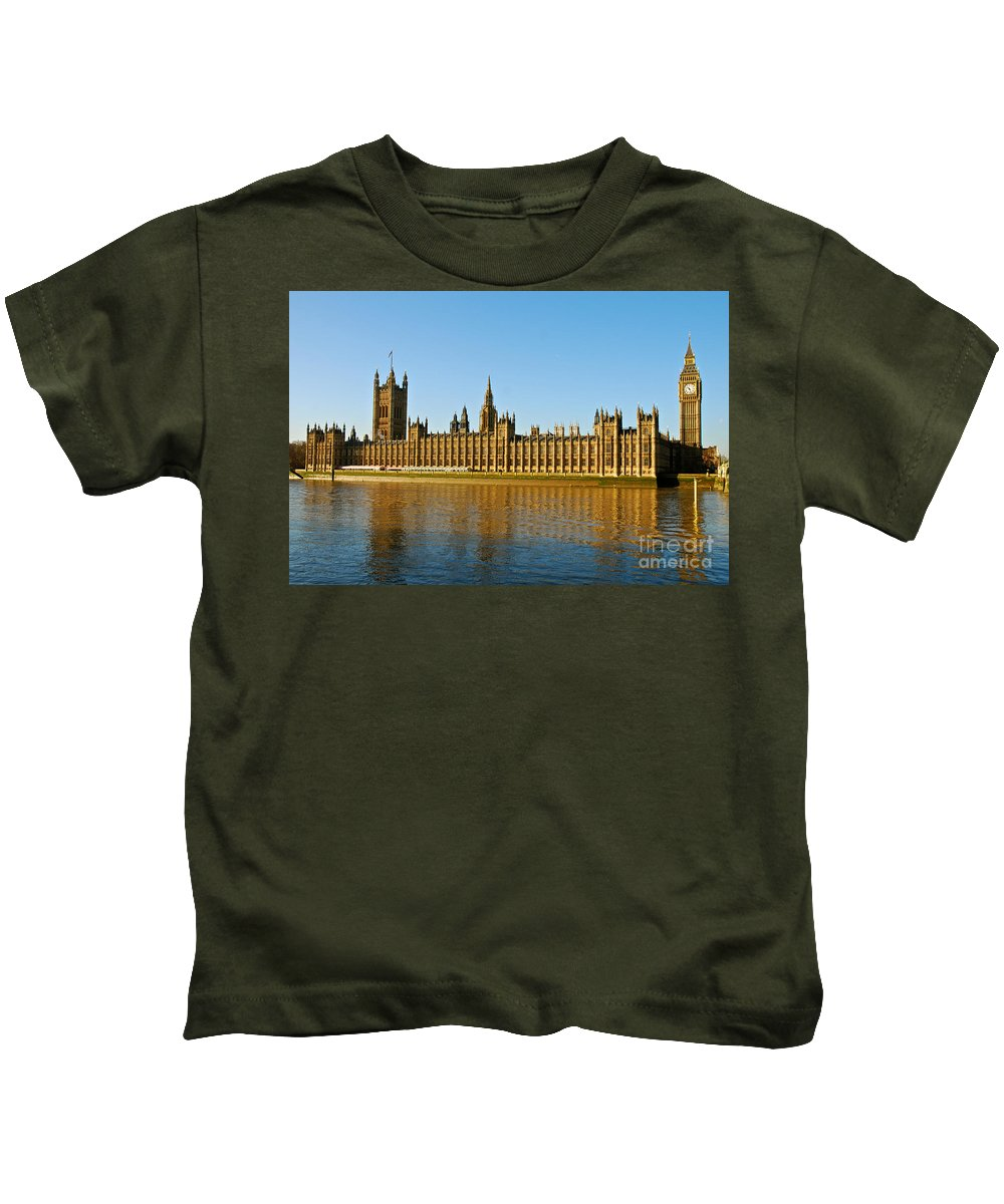 Palace Of Westminster Kids T-Shirt featuring the photograph Palace Of Westminster, Houses Of Parliament, And Big Ben by Kayme Clark