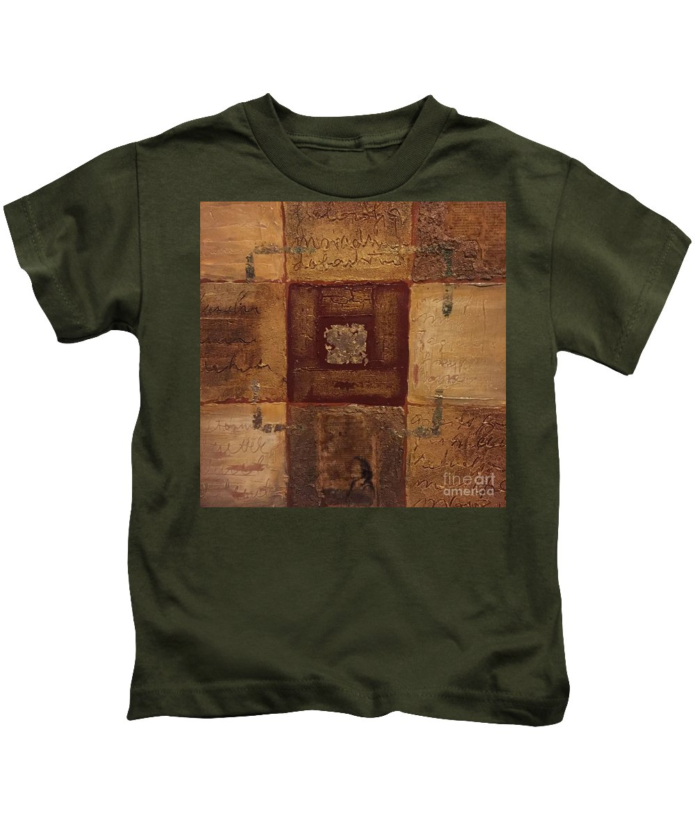 Acrylic Kids T-Shirt featuring the painting 9 Stories by Agota Horvath