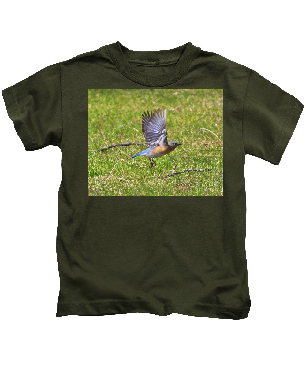 Kids T-Shirt featuring the photograph A Afternoon With Mr Blue Bird-4 by Robert Pearson