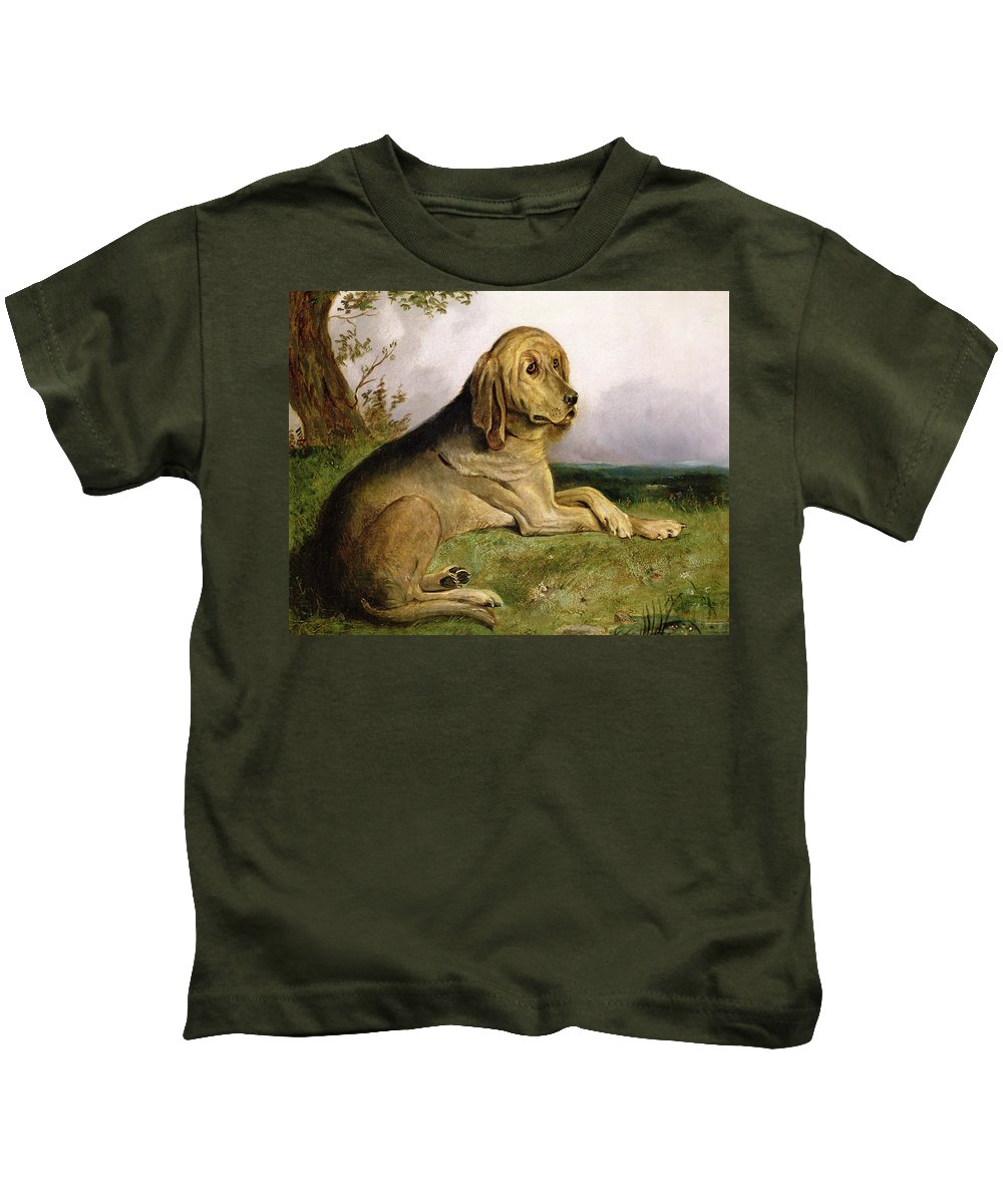 Bloodhound Kids T-Shirt featuring the painting A Bloodhound In A Landscape by English school