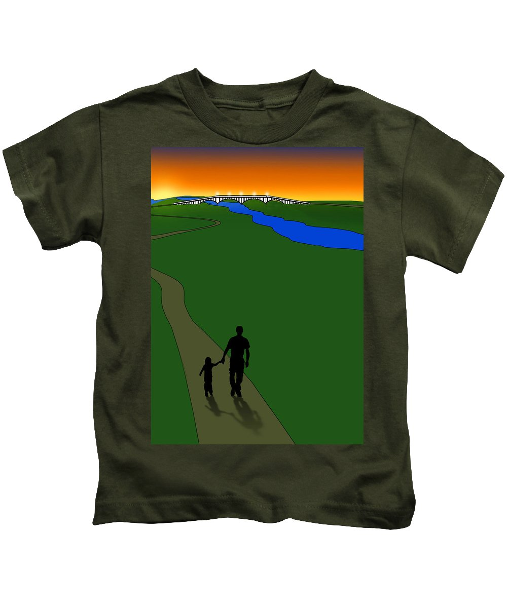 Sunrise Kids T-Shirt featuring the digital art Father And Child by Gravityx9 Designs