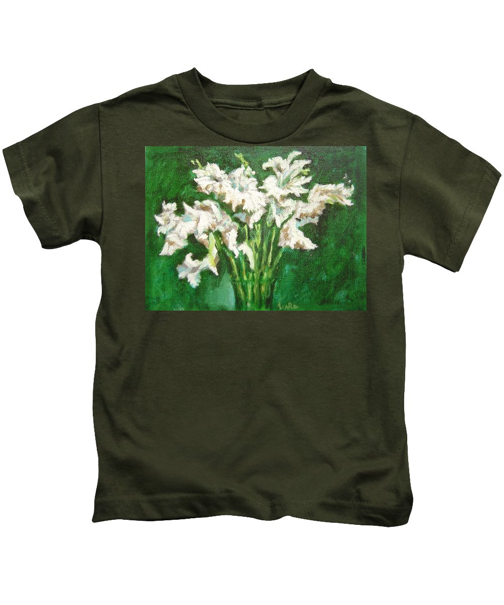 Bunch Kids T-Shirt featuring the painting A Bunch Of White Gladioli by Usha Shantharam