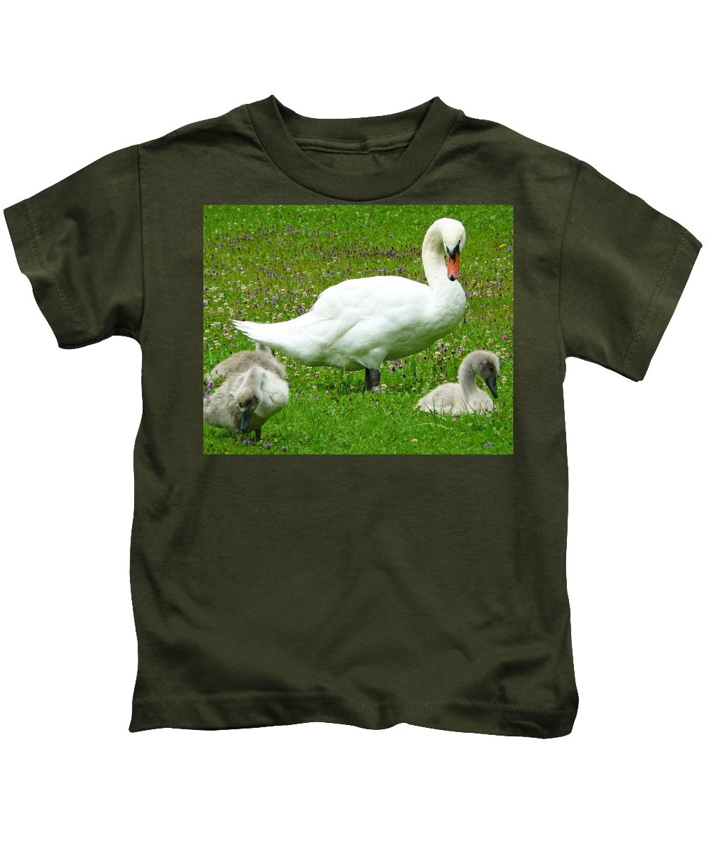 Caring Kids T-Shirt featuring the photograph A Caring Mother by Daniel Csoka