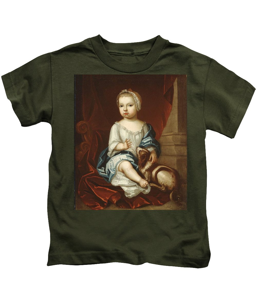 A Child Of The Pierpont Family 1730s Painting Painted Originally By Unidentified Artist Kids T-Shirt featuring the painting A Child Of The Pierpont Family by Unidentified artist