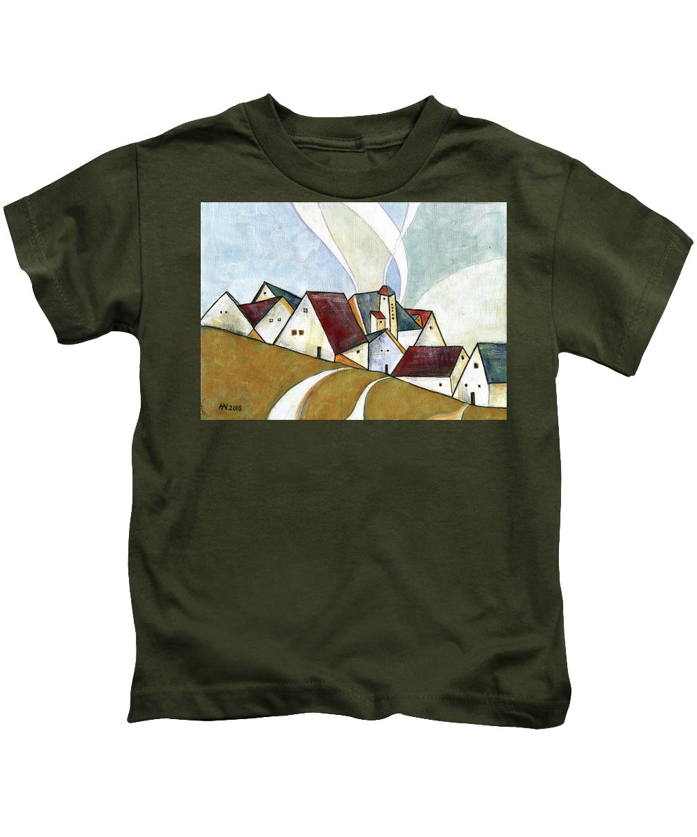 Original Art Kids T-Shirt featuring the painting  A Cold Day by Aniko Hencz