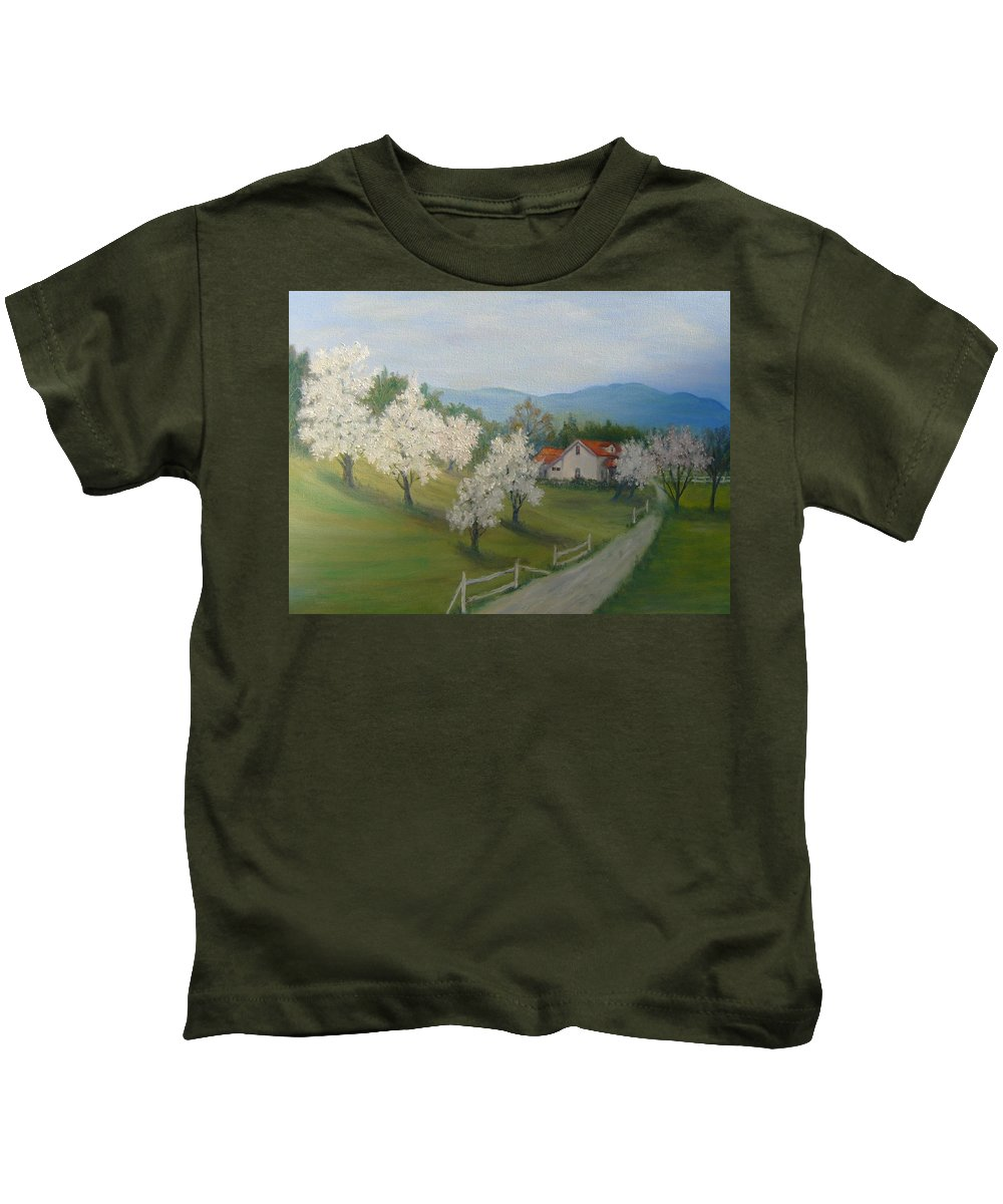 Landscape; Spring; Mountains; Country Road; House Kids T-Shirt featuring the painting A Day in the Country by Ben Kiger