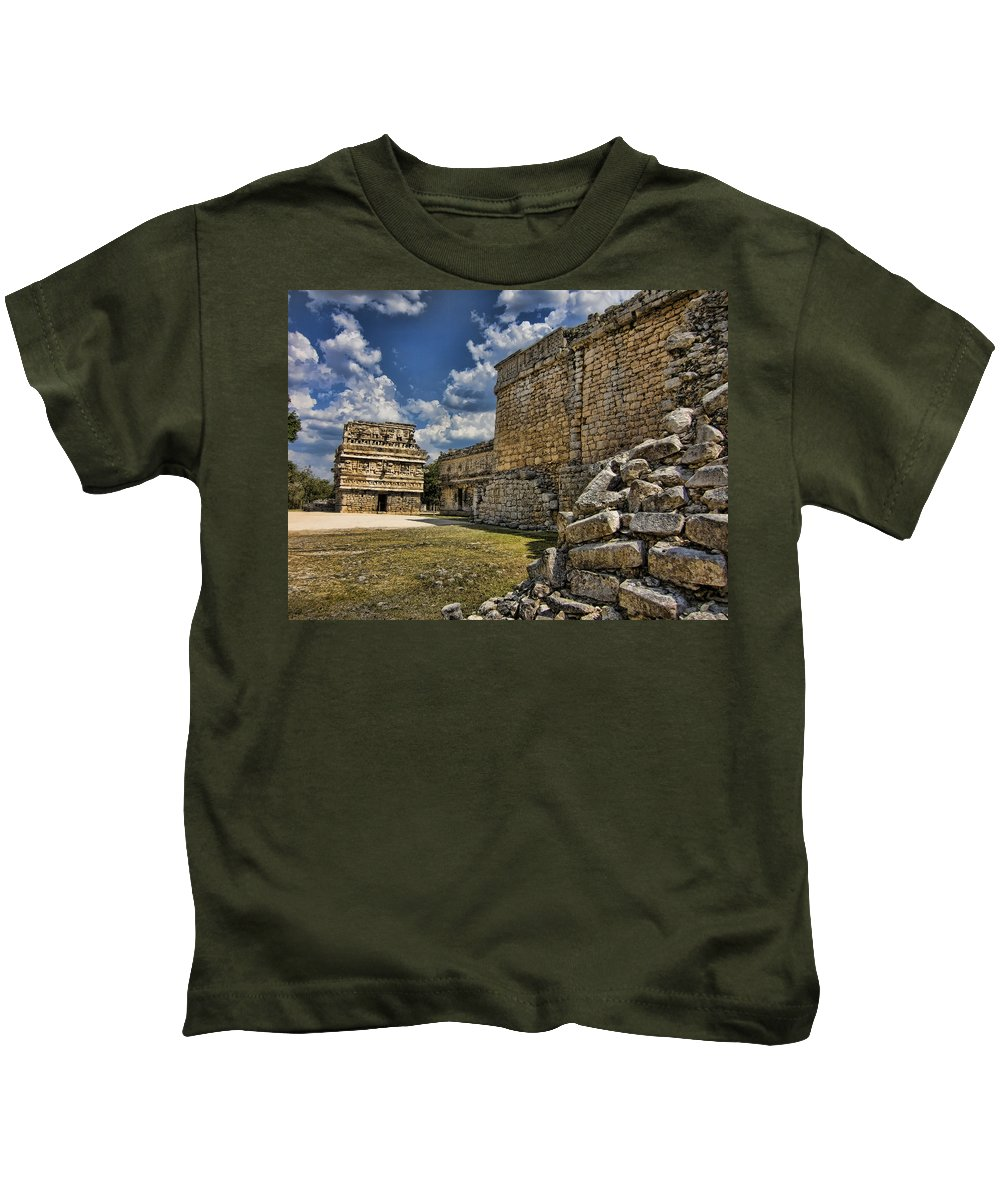 Chichen Itza Kids T-Shirt featuring the photograph A Different Angle by Douglas Barnard