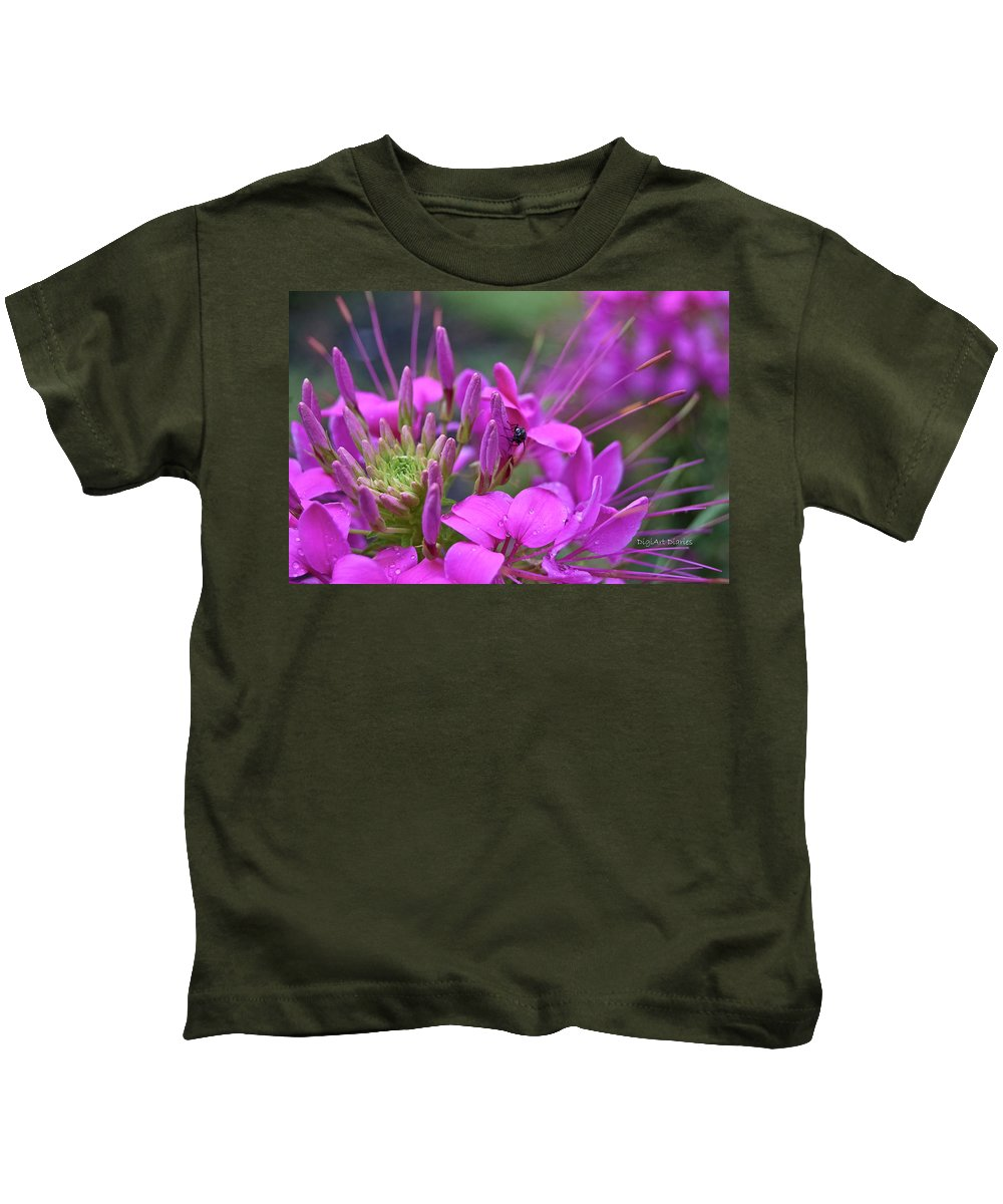 Fly Kids T-Shirt featuring the photograph A Fly And A Flower by DigiArt Diaries by Vicky B Fuller