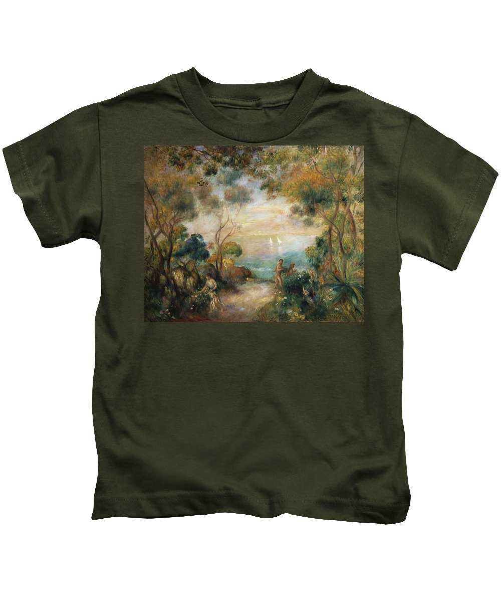 Garden Kids T-Shirt featuring the painting A Garden In Sorrento by Pierre Auguste Renoir