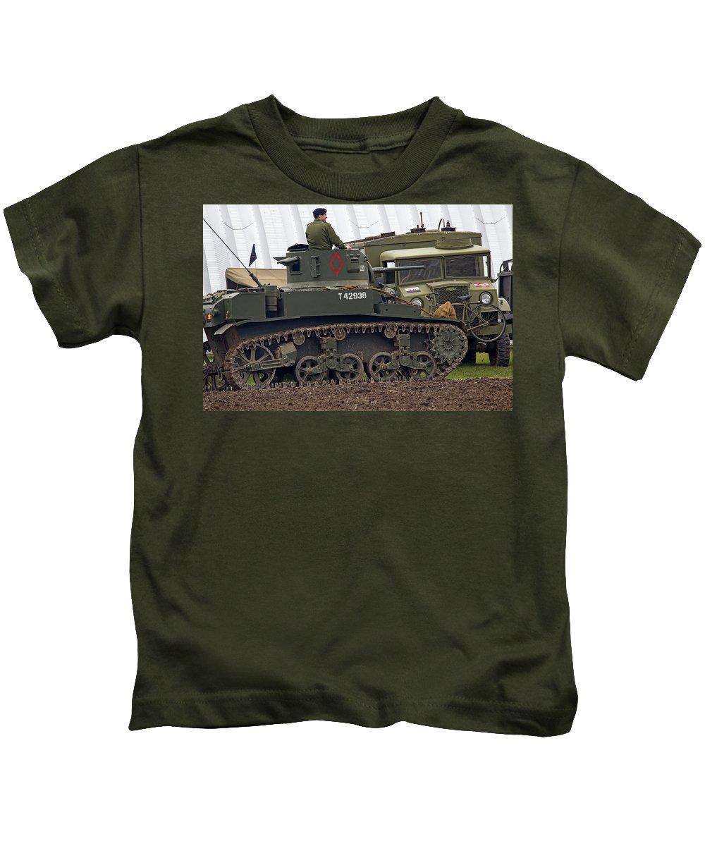 War Kids T-Shirt featuring the photograph A Little Honey - M3 Stewart Light Tank by Spencer Bush