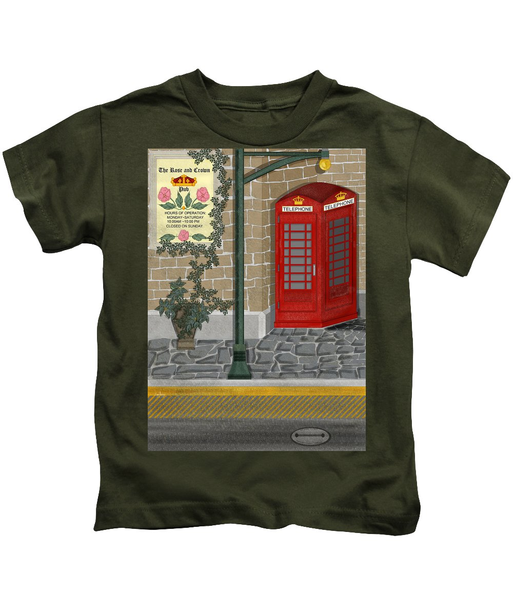 Cityscape Kids T-Shirt featuring the painting A Merry Old Corner In London by Anne Norskog