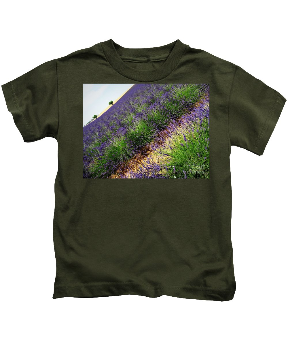 Lavender Kids T-Shirt featuring the photograph A New Slant On Life by Lainie Wrightson