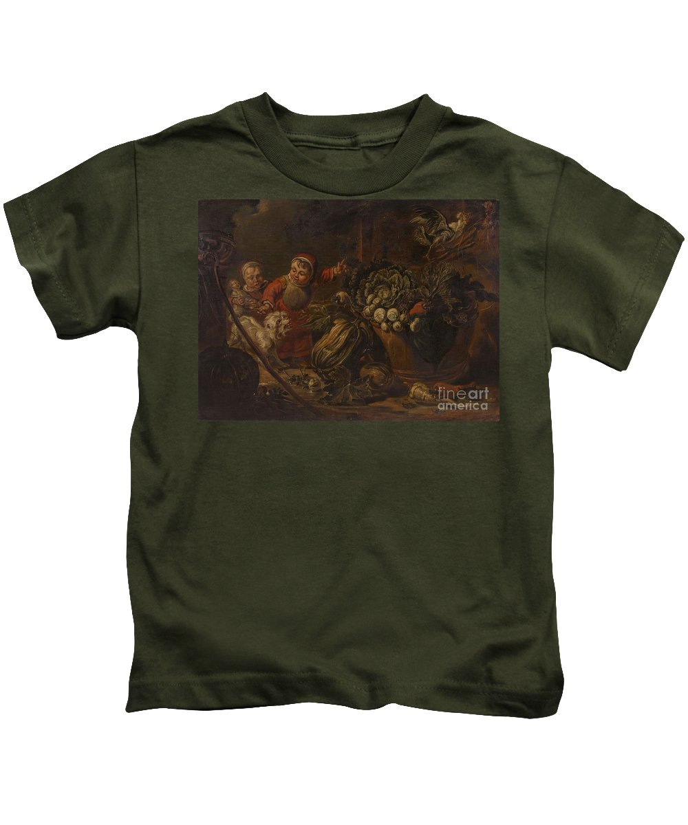 Jacob Jordaens Kids T-Shirt featuring the painting A Peasant Family Dining In An Interior by MotionAge Designs