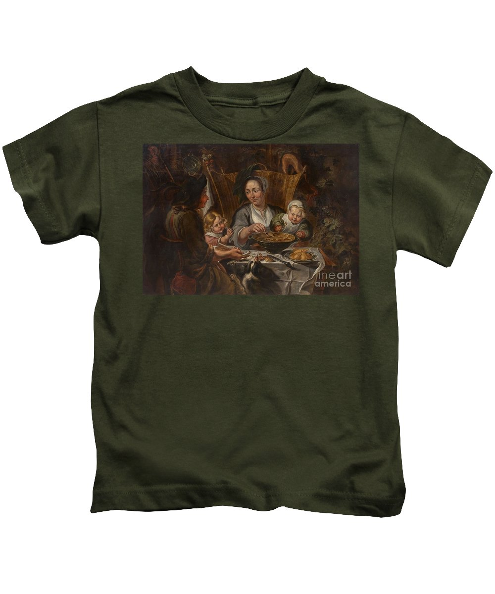 Jacob Jordaens Kids T-Shirt featuring the painting A Peasant Family Dining by MotionAge Designs