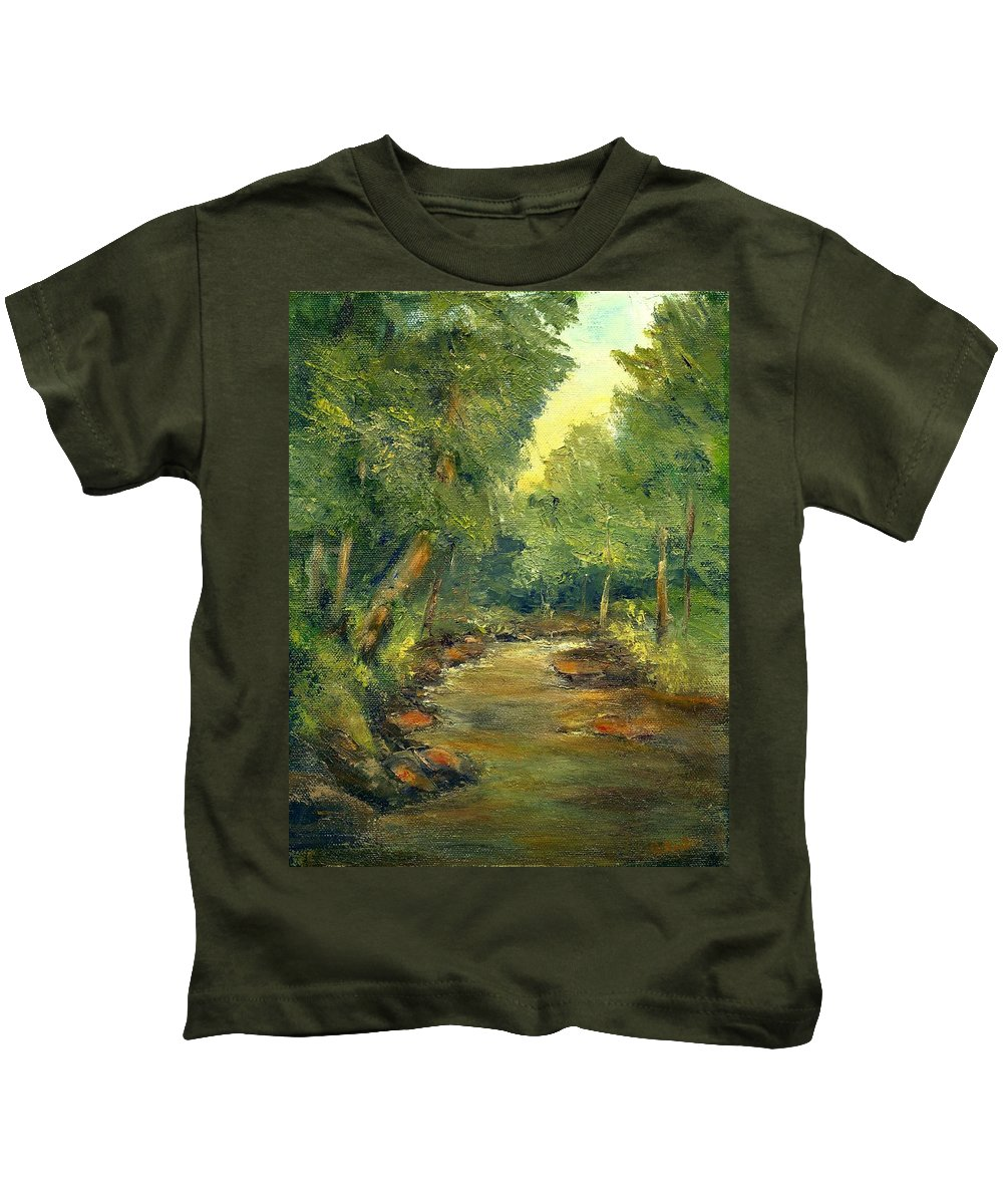 Creek Kids T-Shirt featuring the painting A Quiet Place by Gail Kirtz
