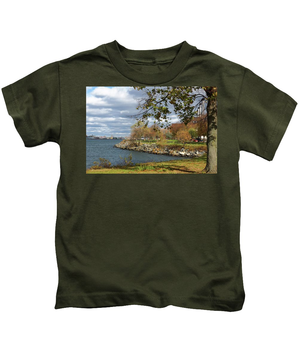Leaves Kids T-Shirt featuring the photograph A Quiet Urban Scene by Cate Franklyn