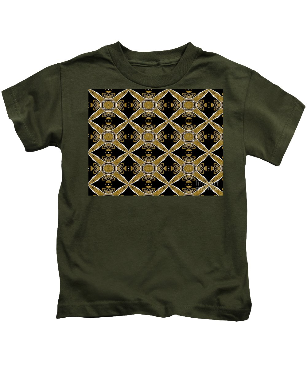 Golden/brown Kids T-Shirt featuring the digital art A Reach For The Stars Abstract by Debra Lynch