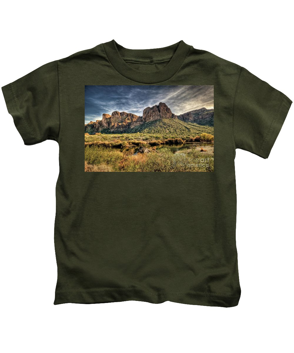 Arizona Kids T-Shirt featuring the photograph A River Runs Through by Saija Lehtonen