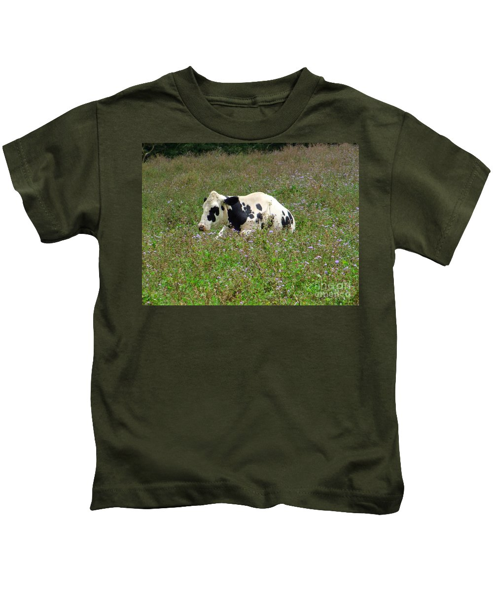 Mary Deal Kids T-Shirt featuring the photograph A Spot Of Rest by Mary Deal