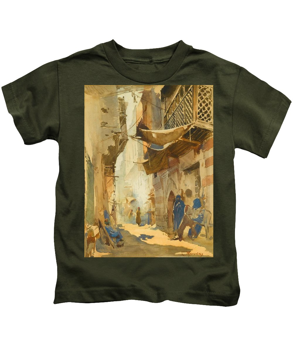 Konstantin Egorovich Makovsky (moscow 1839 - St. Petersburg 1915) Kids T-Shirt featuring the painting A Street Scene In Cairo by Egorovich