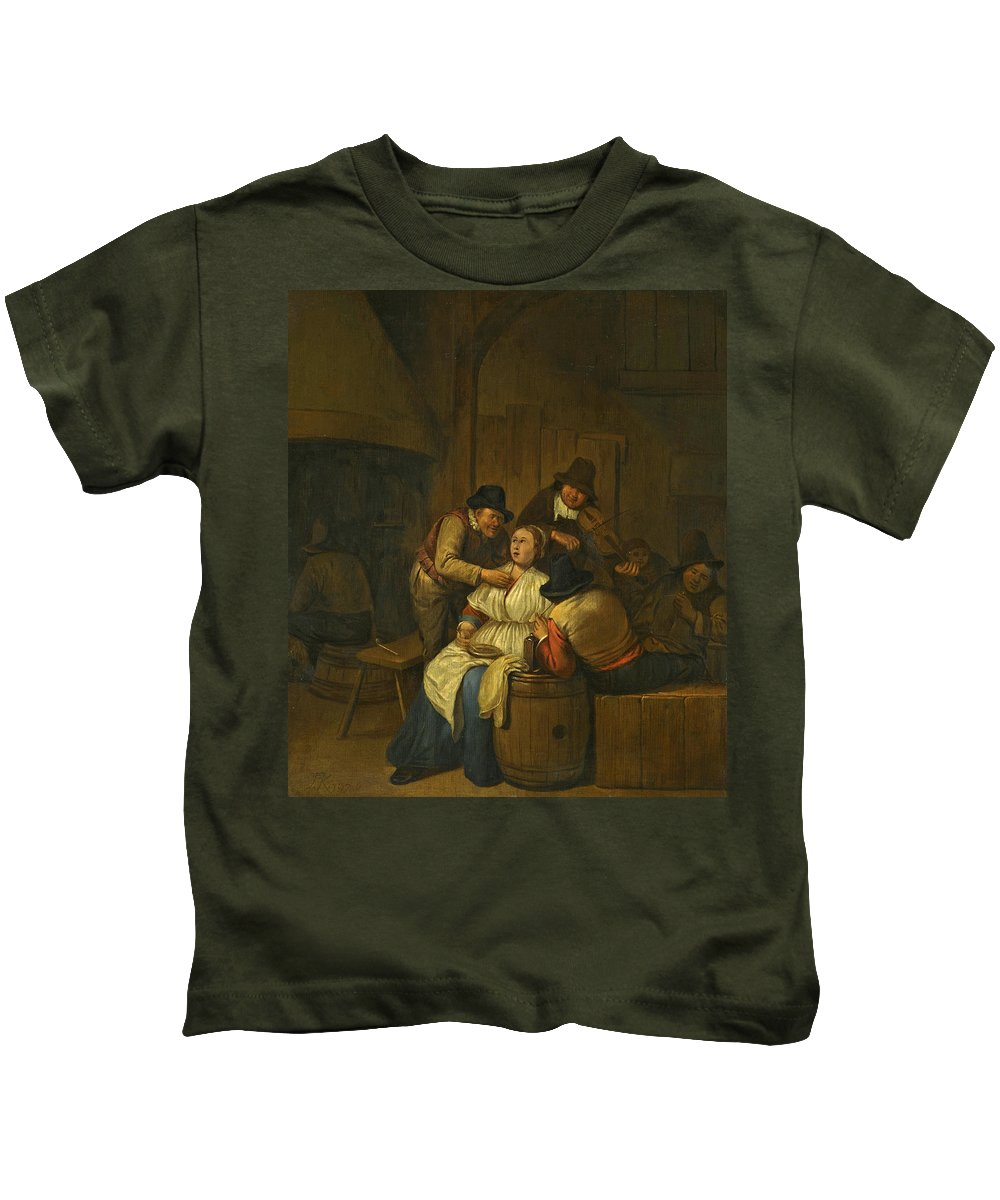 Egbert Van Heemskerck The Elder Kids T-Shirt featuring the painting A Tavern Interior With Two Peasants Making Advances On A Maid With Figures Making Music Beyond by Egbert van Heemskerck the Elder