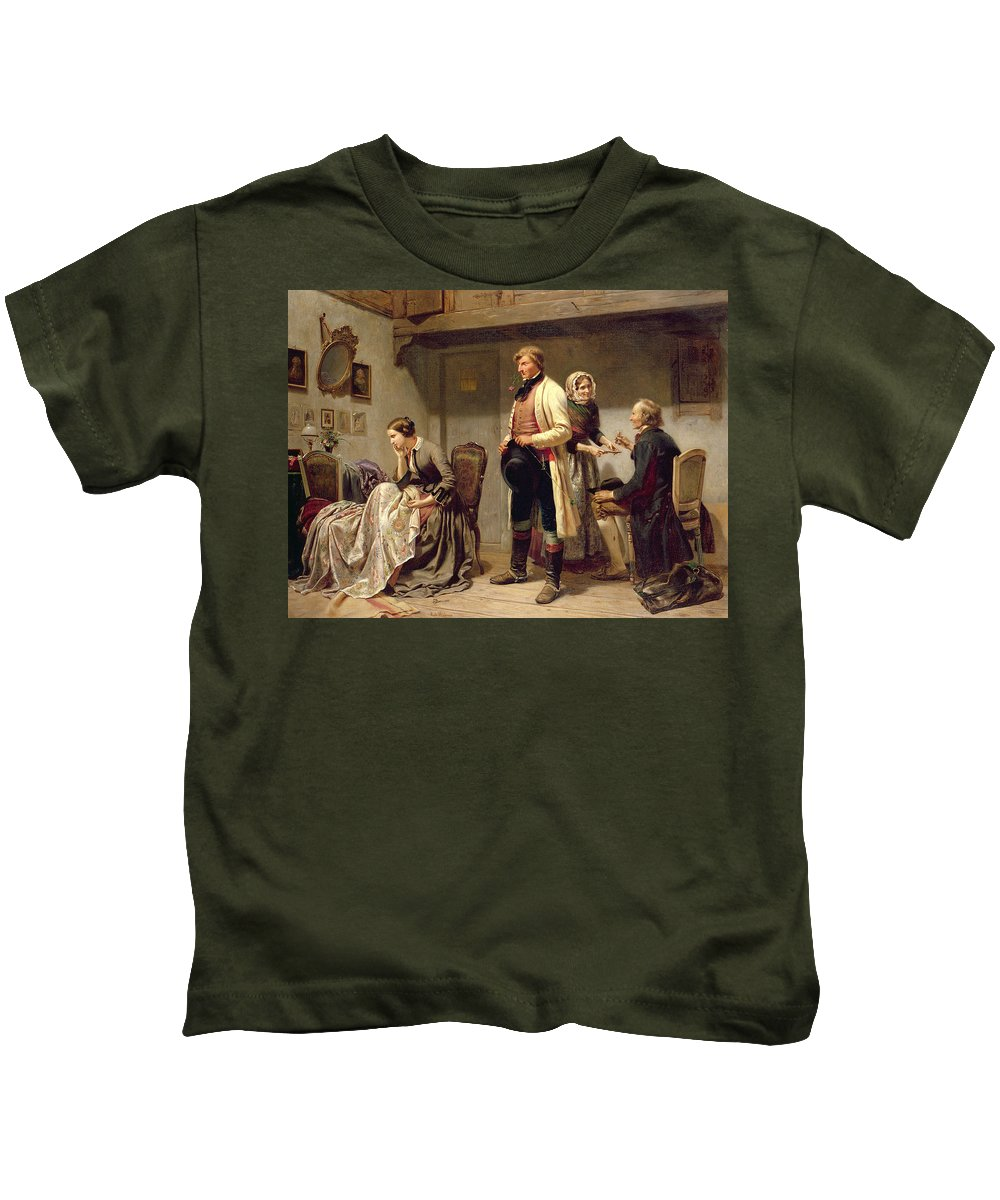 Toast Kids T-Shirt featuring the painting A Toast To The Engaged Couple by Carl Wilhelm Huebner