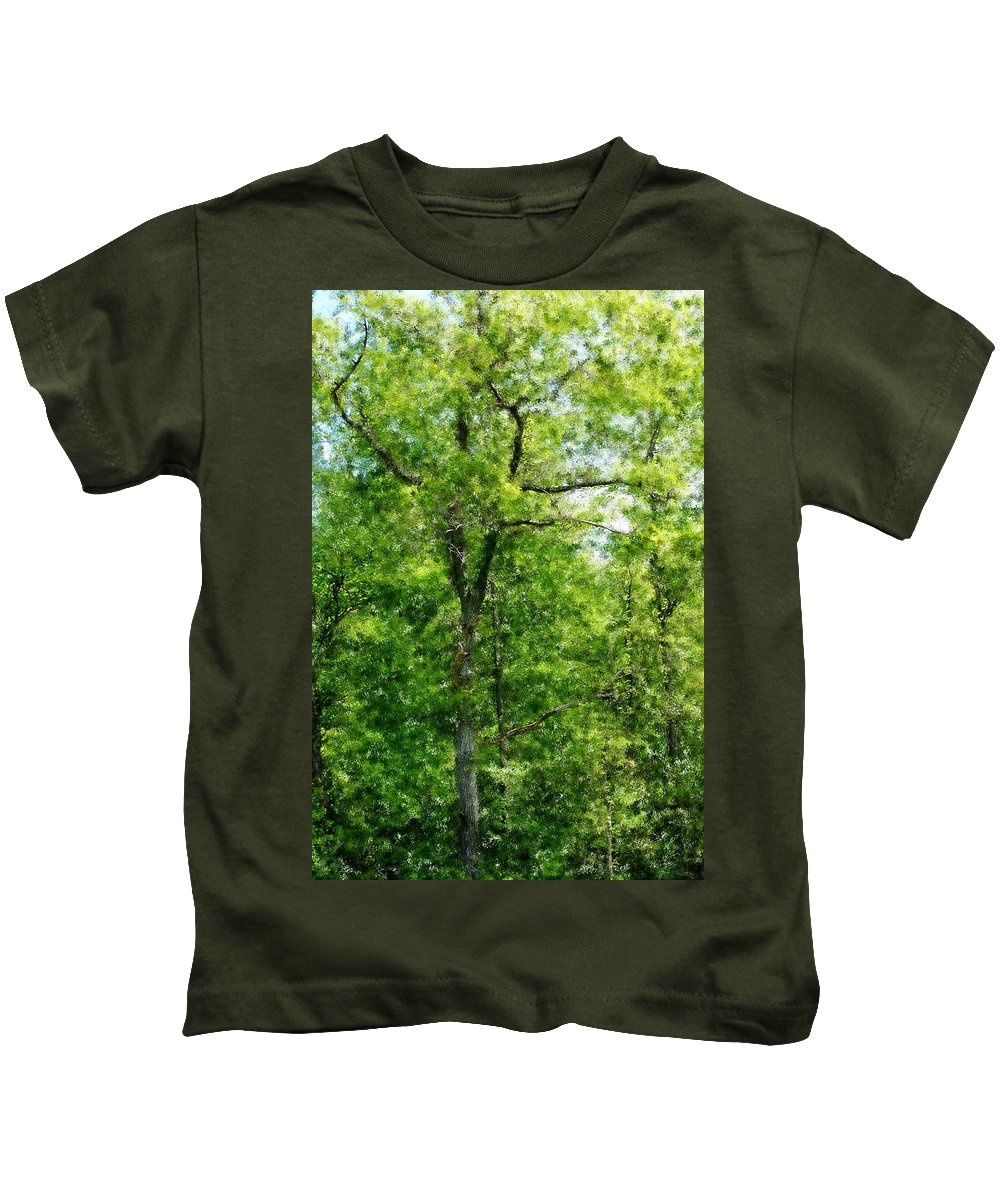 Digital Photo Kids T-Shirt featuring the photograph A Tree In The Woods At The Hacienda by David Lane