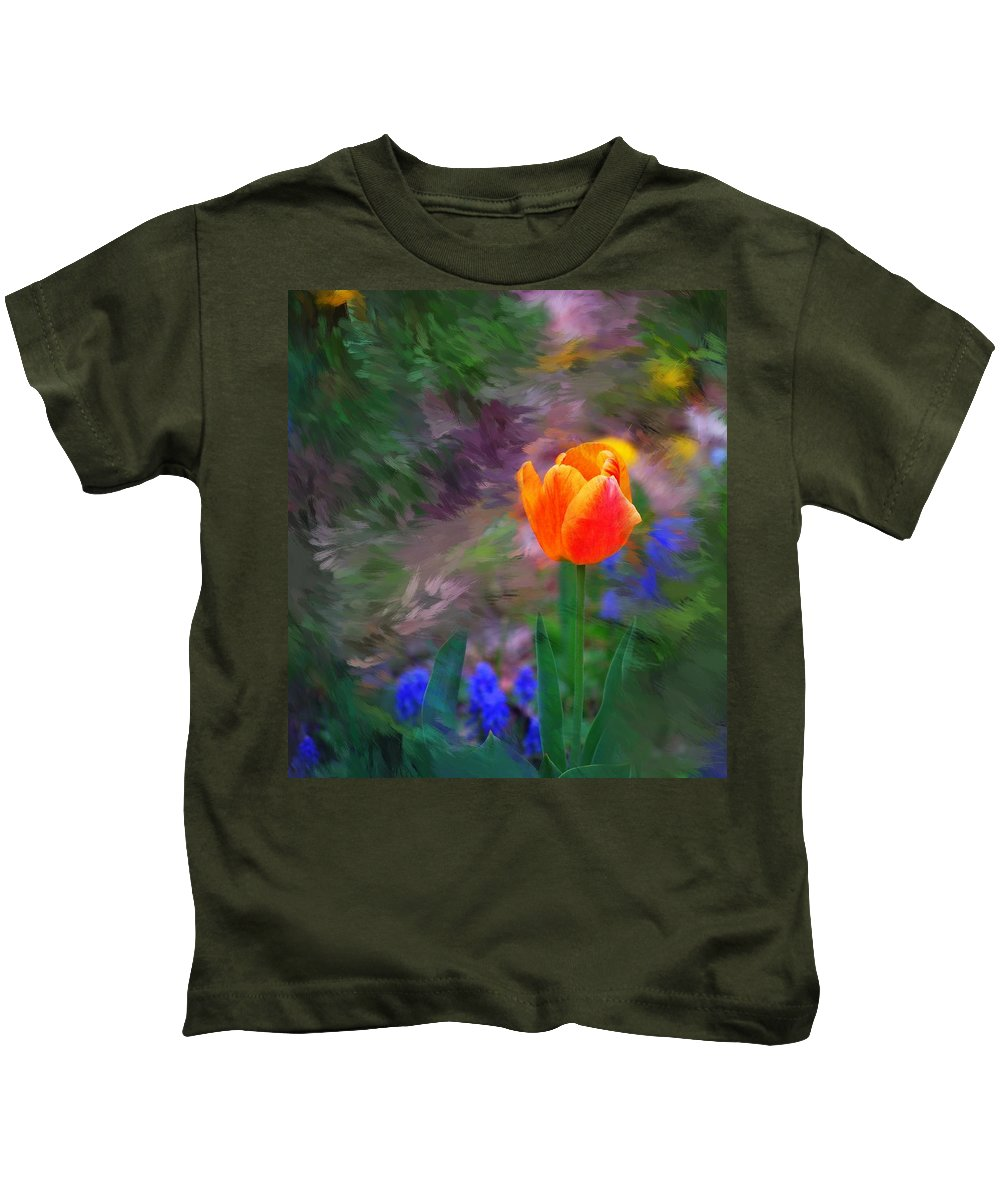 Floral Kids T-Shirt featuring the digital art A Tulip Stands Alone by David Lane