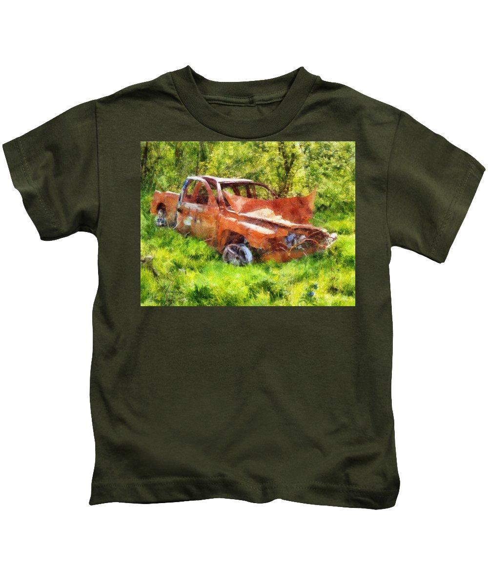 Truck Kids T-Shirt featuring the digital art Abandoned Truck by Francesa Miller
