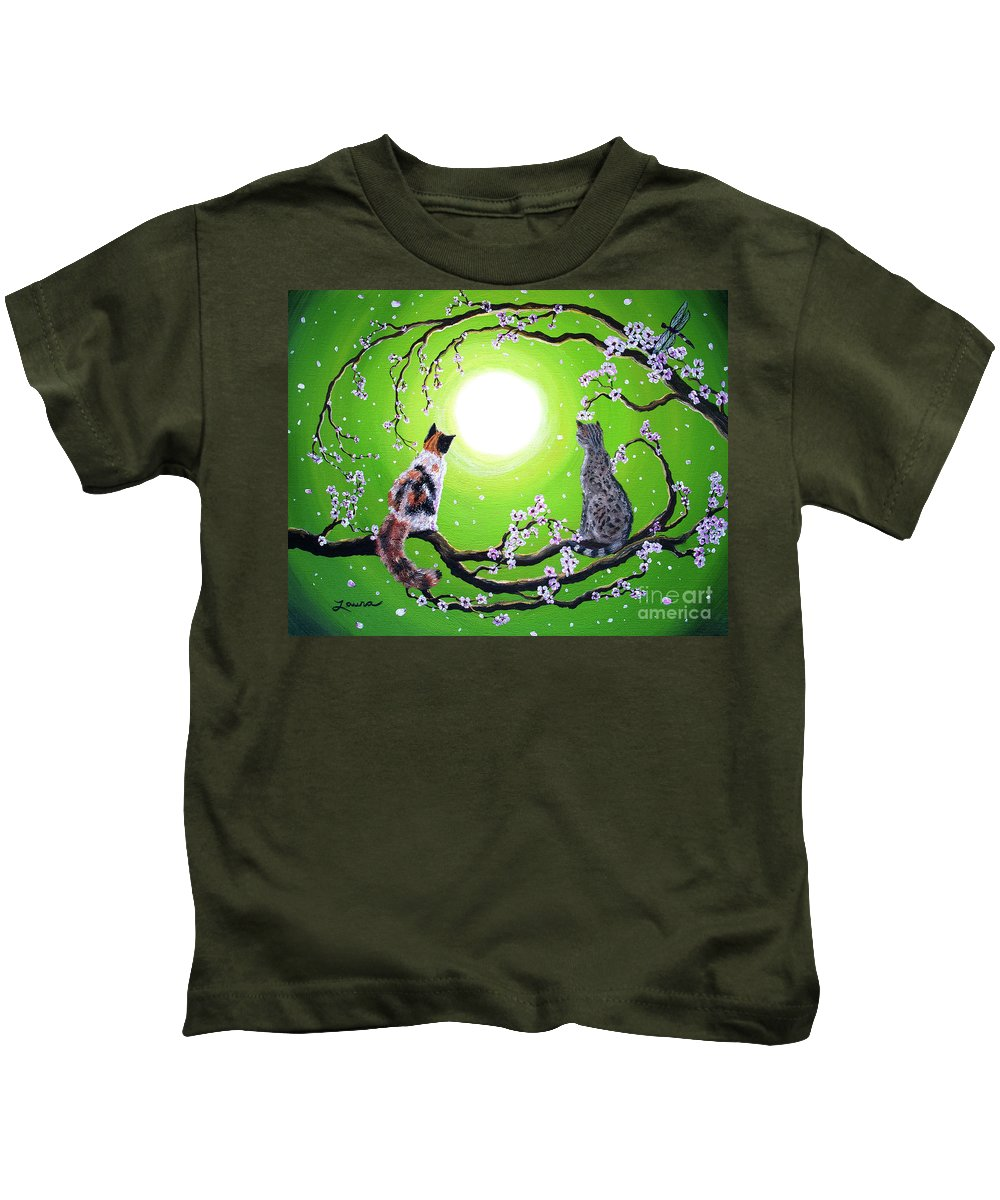 Zen Kids T-Shirt featuring the painting Abby And Caesar In The Spring by Laura Iverson