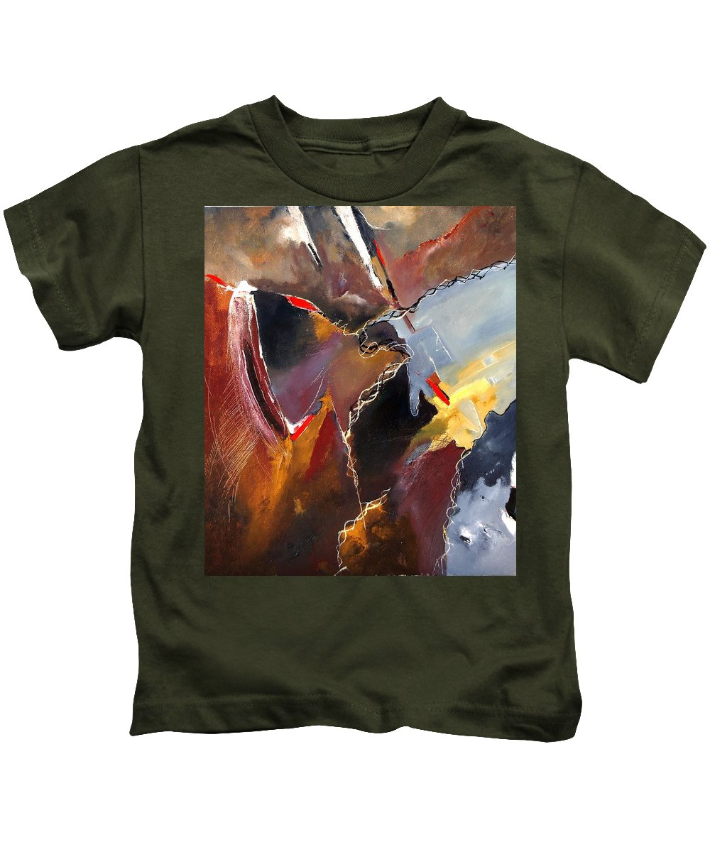 Abstract Kids T-Shirt featuring the painting Abstract 020606 by Pol Ledent