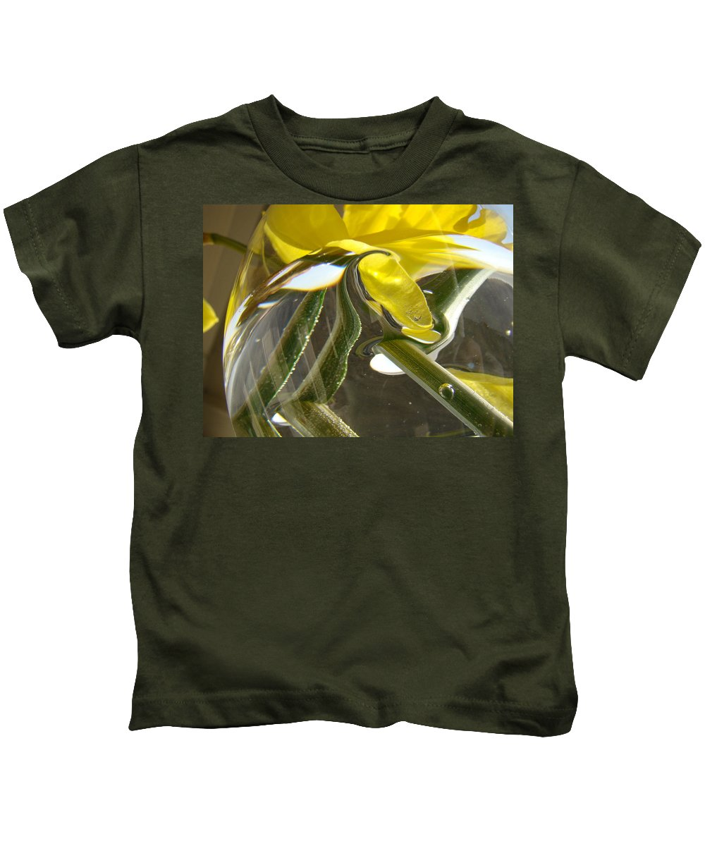 �daffodils Artwork� Kids T-Shirt featuring the photograph Abstract Artwork Daffodils Flowers 1 Natural Abstract Art Prints Glass Vase Water Art Light Air by Baslee Troutman