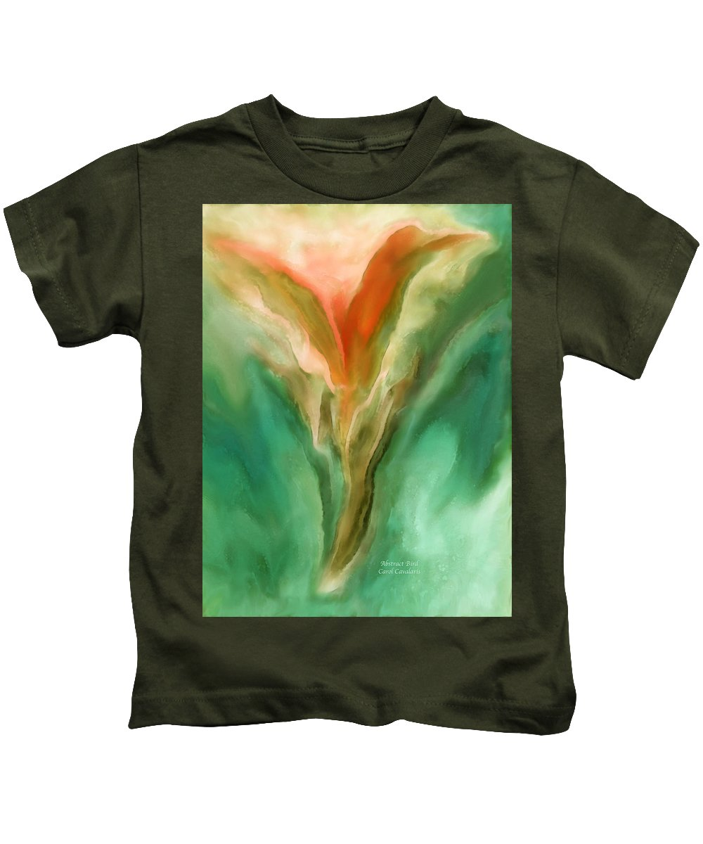 Abstract Kids T-Shirt featuring the mixed media Abstract Bird by Carol Cavalaris