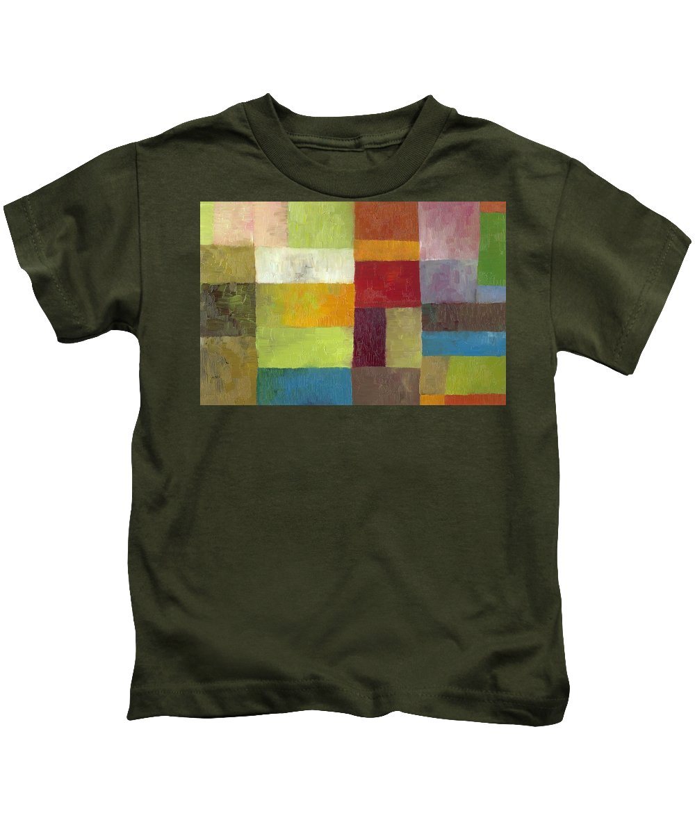 Abstract Kids T-Shirt featuring the painting Abstract Color Study Lv by Michelle Calkins