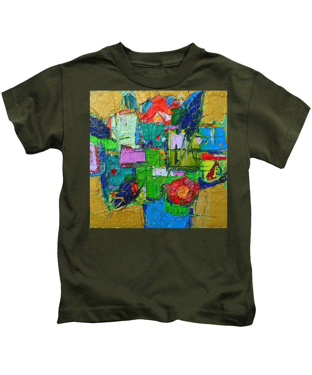 Rose Kids T-Shirt featuring the painting Abstract Flowers On Gold Contemporary Impressionist Palette Knife Oil Painting By Ana Maria Edulescu by Ana Maria Edulescu