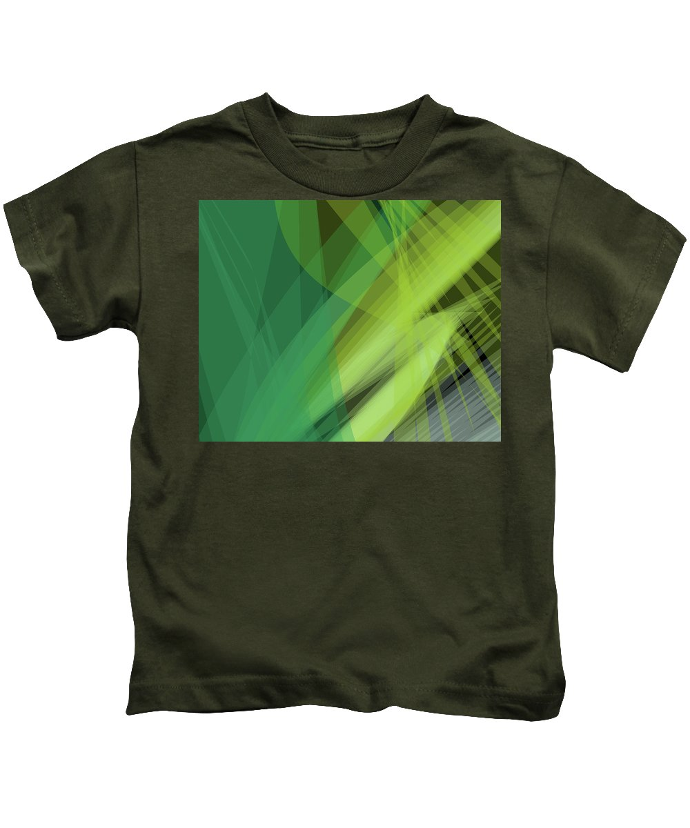 Background Kids T-Shirt featuring the digital art Abstract Green Vector Background Banner, Transparent Wave Lines by Svetlana Corghencea