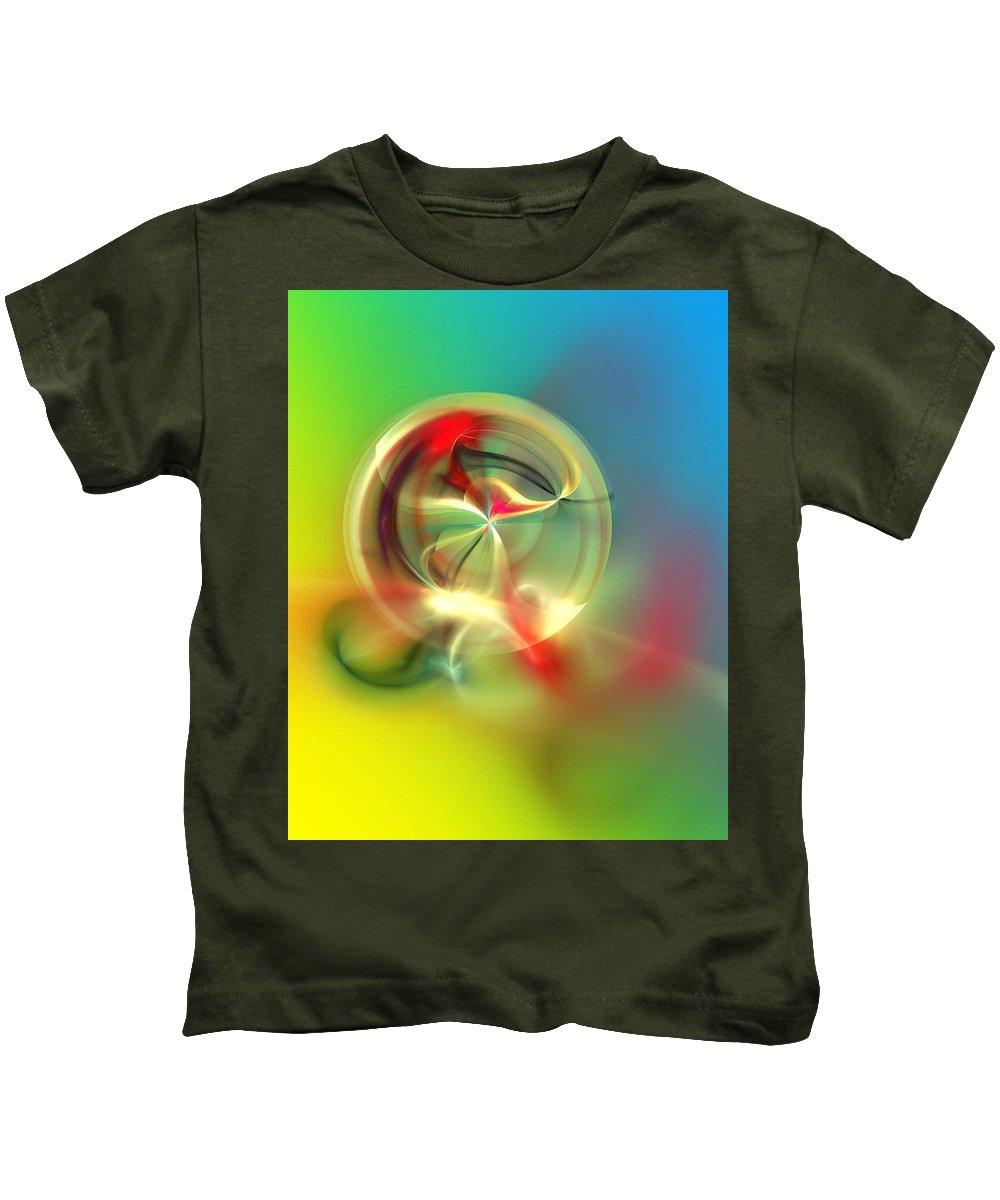 Fine Art Kids T-Shirt featuring the digital art Abstract Karma Wheel by David Lane