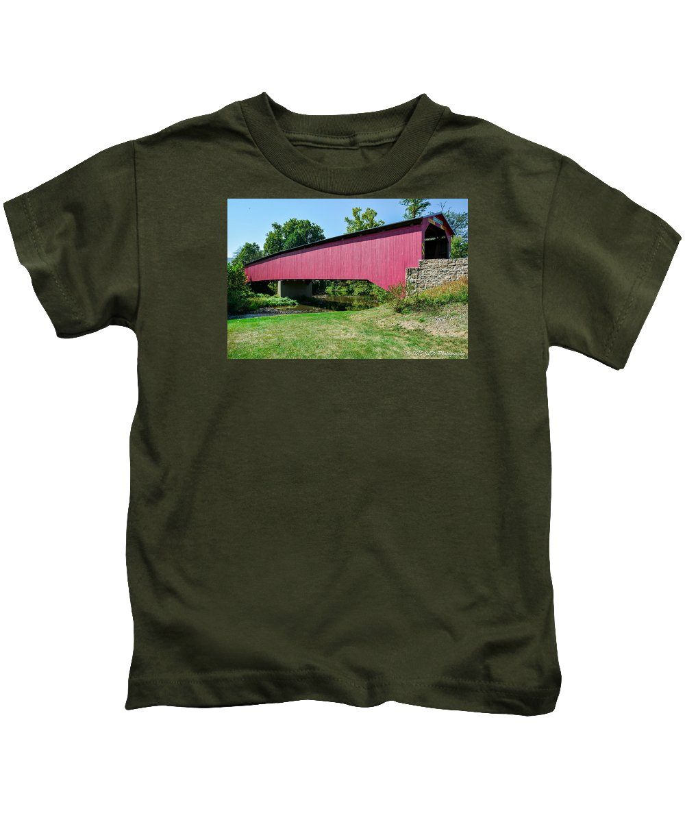 Bridge Kids T-Shirt featuring the photograph Adairs/cisna Mill Covered Bridge by Jennifer Wick