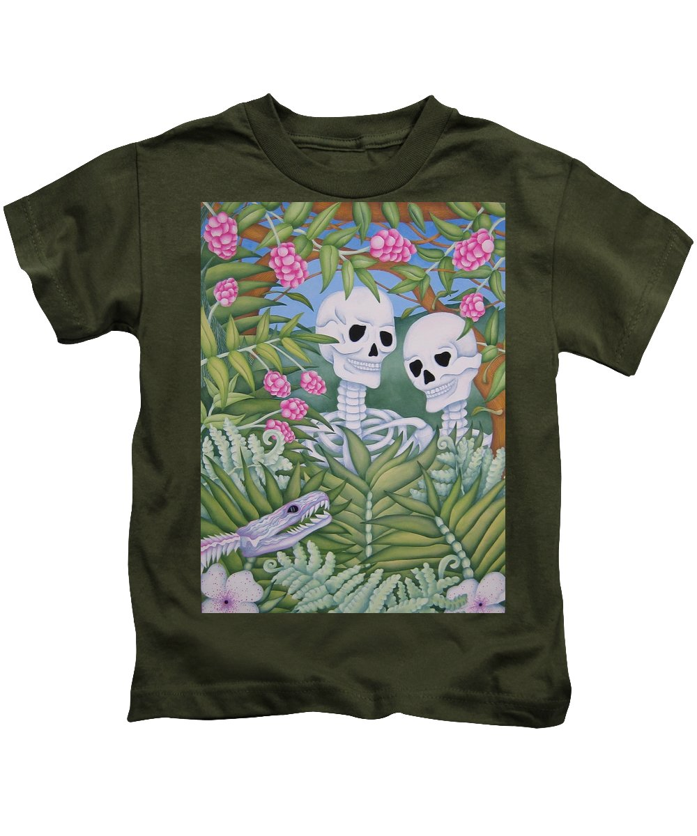 Calavera Kids T-Shirt featuring the painting Adam And Eve by Jeniffer Stapher-Thomas