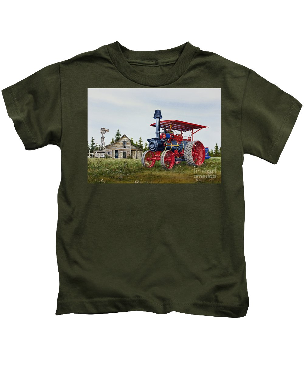 Advance Rumely Kids T-Shirt featuring the painting Advance Rumely Steam Traction Engine by James Williamson