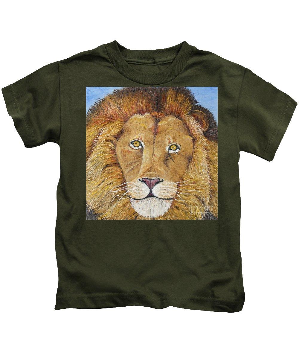 Lion Kids T-Shirt featuring the photograph African Lion by Karen Desrosiers