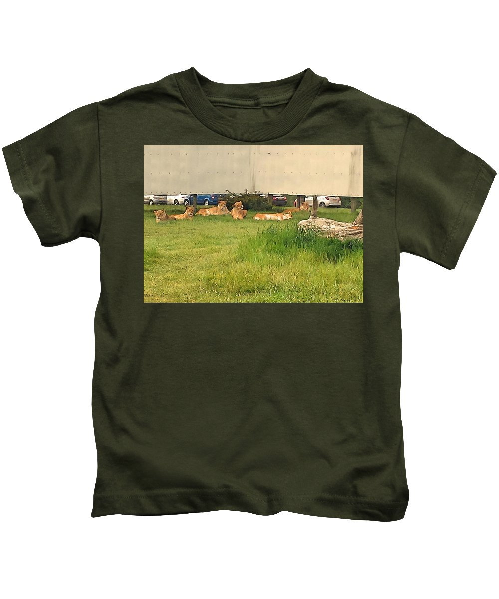 African Kids T-Shirt featuring the photograph African Lion by Lisa Byrne