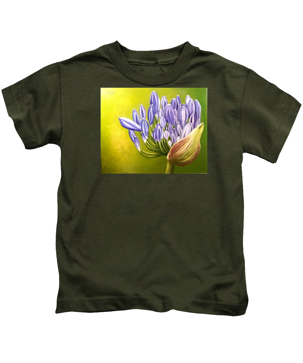 Flower Kids T-Shirt featuring the painting Agapanthos by Natalia Tejera