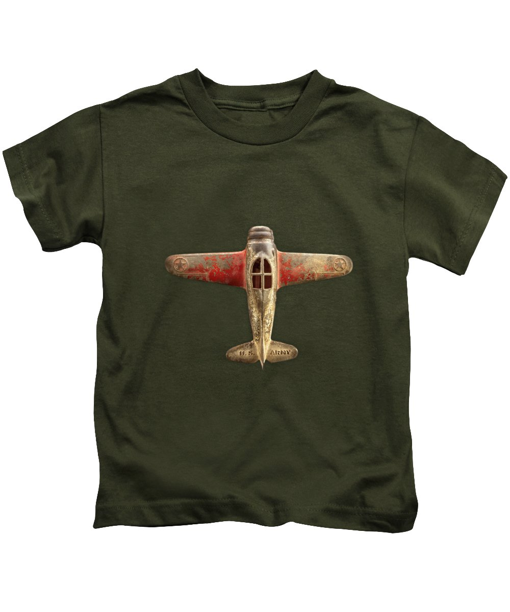 Black Kids T-Shirt featuring the photograph Airplane Scrapper On Black by YoPedro