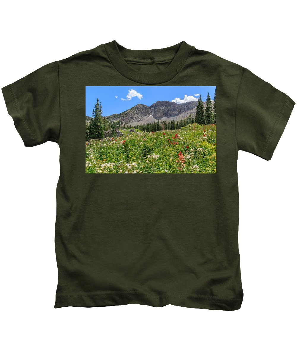 Trailsxposed Kids T-Shirt featuring the photograph Albion Summer Flowers by Gina Herbert