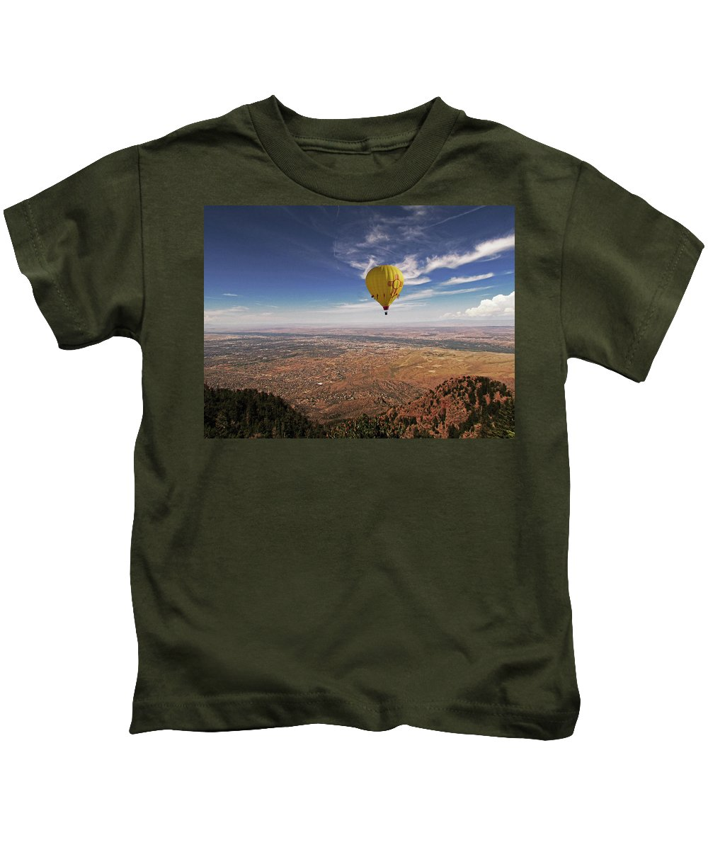 Hot Air Balloon Kids T-Shirt featuring the photograph Albuquerque Flight by Keith Peacock
