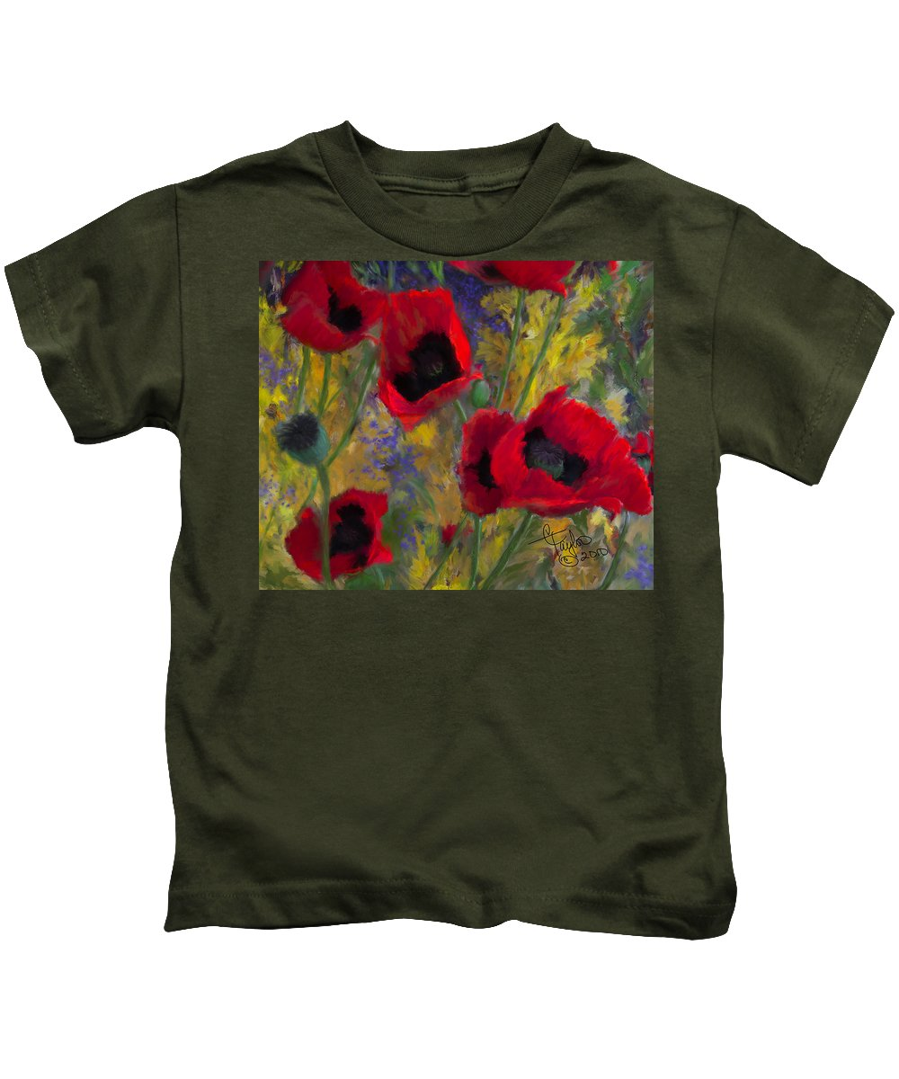 Flowers Kids T-Shirt featuring the painting Alicias Poppies by Colleen Taylor